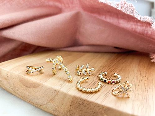 Gold CZ Upper Ear Starburst Cuff