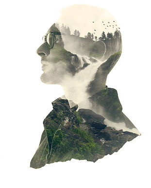 Double exposure silhouette head portrait