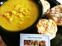 Kelly's Nokhod Aab Soup with homemade biscuits