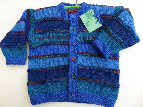 1 year old Boys Cardigan with Cross Stitch detail and fancy buttons