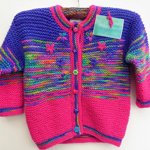 1 year old Girls Colourful Knitted Jacket