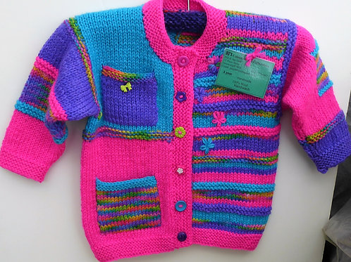 1 year old Colourful Girls Cardigan