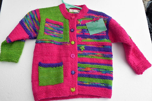 1 year old Girls Colourful knitted Cardigan