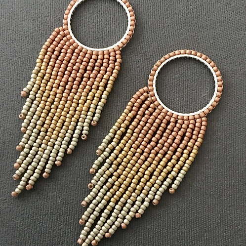 Round Sunrise Fringe Earrings