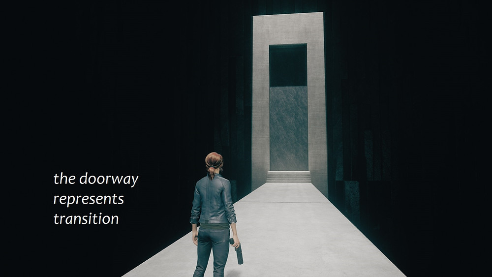 """Jesse Faden looks at an immense  and impossible doorway.  Text reads """"the doorway represents transition."""""""