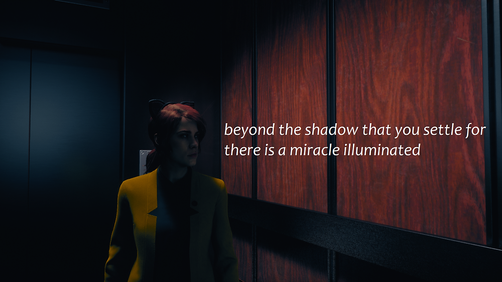 """Jesse Faden looks contemplatively into the distance, wearing cat ears and a gold suit.  Text reads """"beyond the shadow that you settle for there is a miracle illuminated."""""""