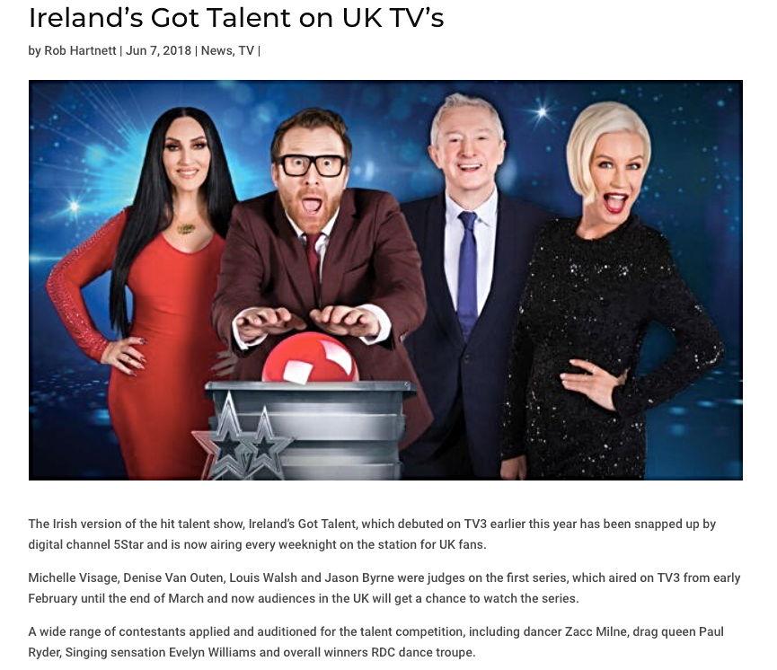 Thank you so much for the lovely messages and compliments on Irelands Got Talent. We were so pleased with series One, working with such a talented bunch of contestants. A big shout out to the incredible work from the team at Kite Entertainment.