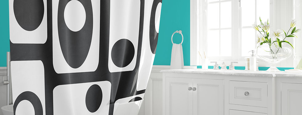 black mid century modern shower curtain