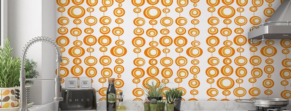 Orange Wallpaper, Geometric Wallpaper, Mid Century Modern Wallpaper ,Retro Kitchen Wallpaper