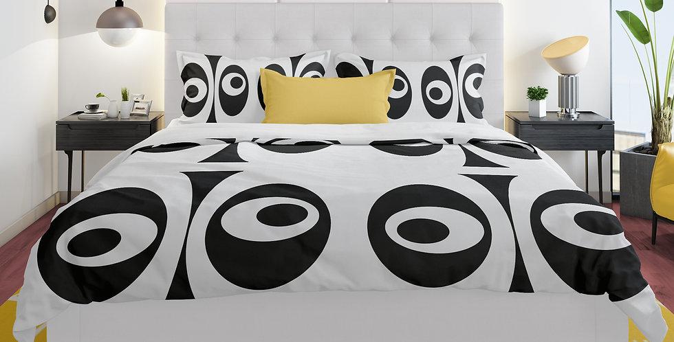 White/Black Mid Century Modern Duvet Cover Set