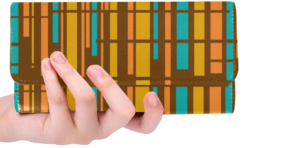 Brown modern striped wallet