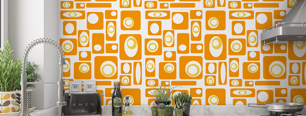 Mid Century Modern Wallpaper Kitchen