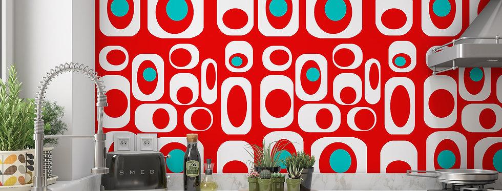 Red Mid Century Modern Wallpaper Kitchen