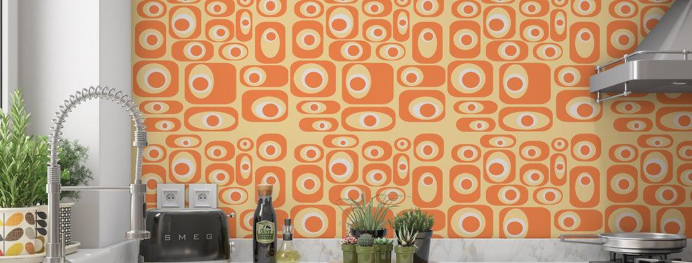 Mid Century Modern Wallpaper, Retro Wallpaper, Geometric Wallpaper, Mod Orange Wallpaper