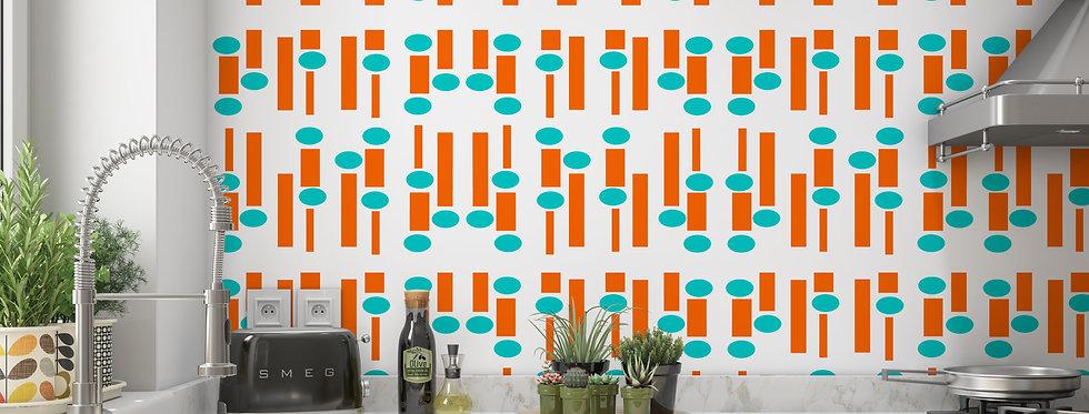 Geometric Wallpaper, Mid Century Modern Wallpaper , Retro Kitchen Wallpaper