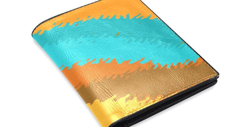 Waves Leather Wallet - Blue/Orange/Brown