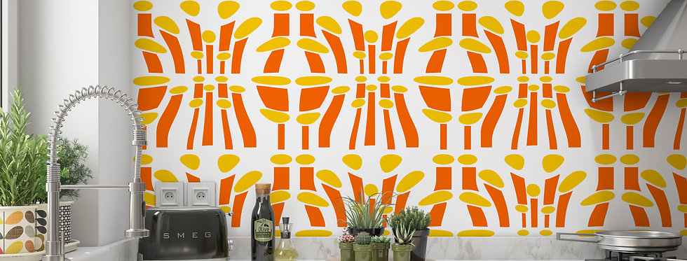 Mid Century Modern Wallpaper, Mod Wallpaper,Modern Wallpaper, Orange Geometric Wallpaper, Retro Wallpaper