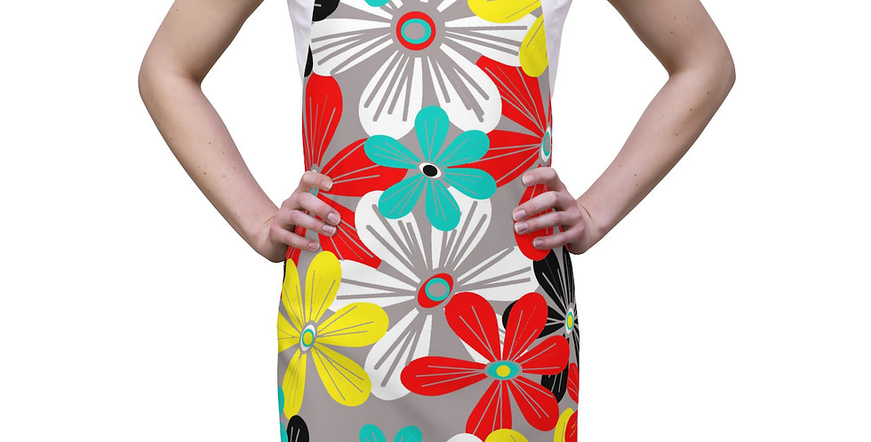 Gray Flower Power Modern Apron