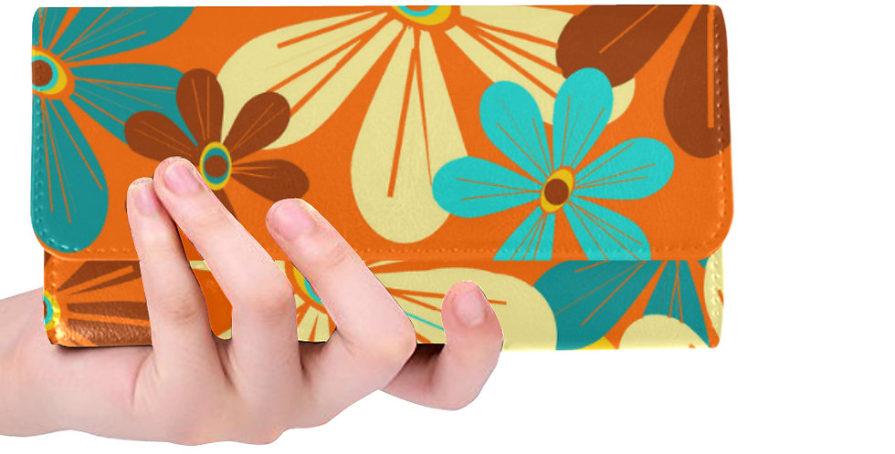 Orange Floral Wallet
