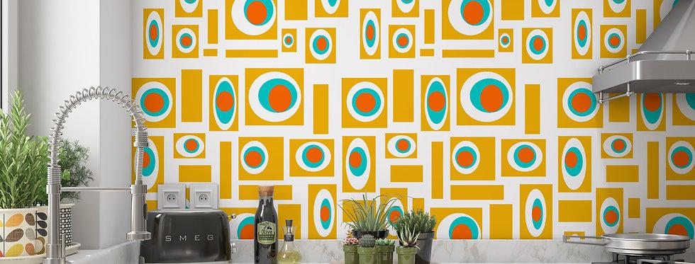 Mid Century Modern Geometric Wallpaper Kitchen