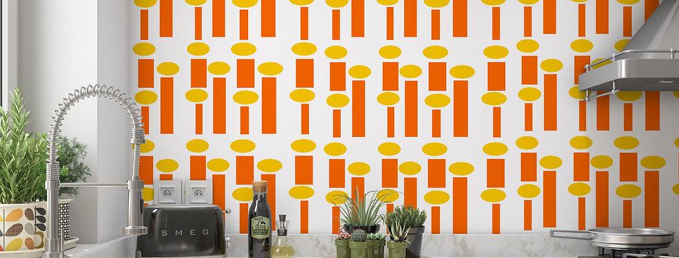 Mid Century Modern Wallpaper, Retro Wallpaper, Geometric Wallpaper, Orange Wallpaper