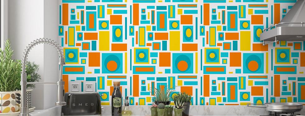 Geometric Wallpaper, Mid Century Modern Wallpaper, Modern Geometric Wallpaper, Retro Wallpaper
