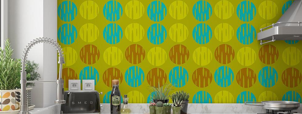 Mid Century Modern Wallpaper, Mod Wallpaper,Modern Wallpaper, Green Geometric Wallpaper, Retro Wallpaper