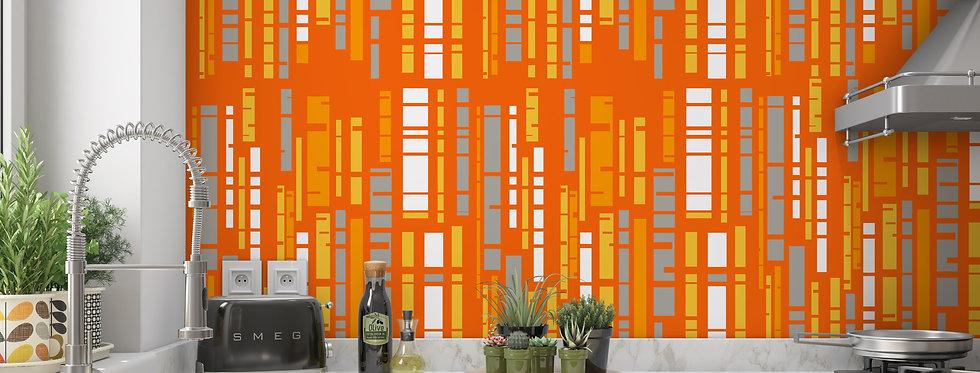 Orange Mid Century Modern Wallpaper Kitchen