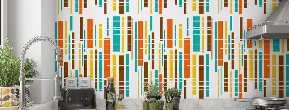 Orange Geometric Wallpaper, Mid Century Modern Wallpaper, Modern Geometric Wallpaper,
