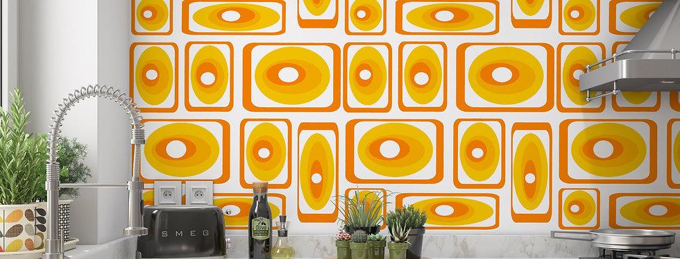 Orange Wallpaper, Mid Century Modern Wallpaper, Retro Wallpaper, Geometric Wallpaper