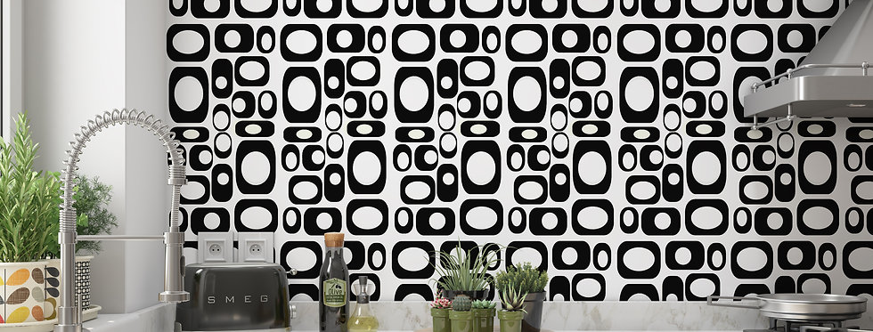 Geometric Mid Century Modern Wallpaper Black and White
