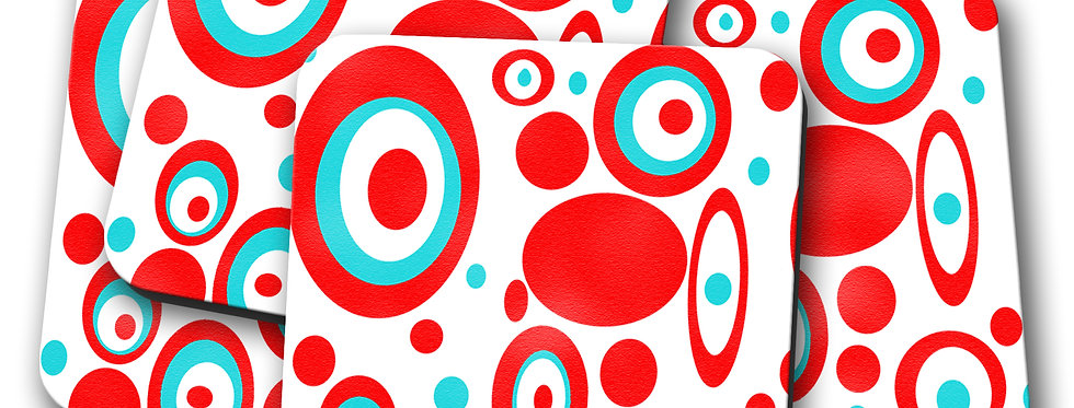 polka dot mid century modern coasters