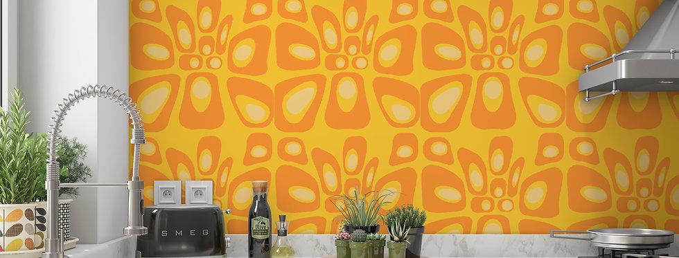 Mid Century Modern Wallpaper, Mod Wallpaper,Modern Wallpaper, Orange Geometric Wallpaper, Retro Wallpaper