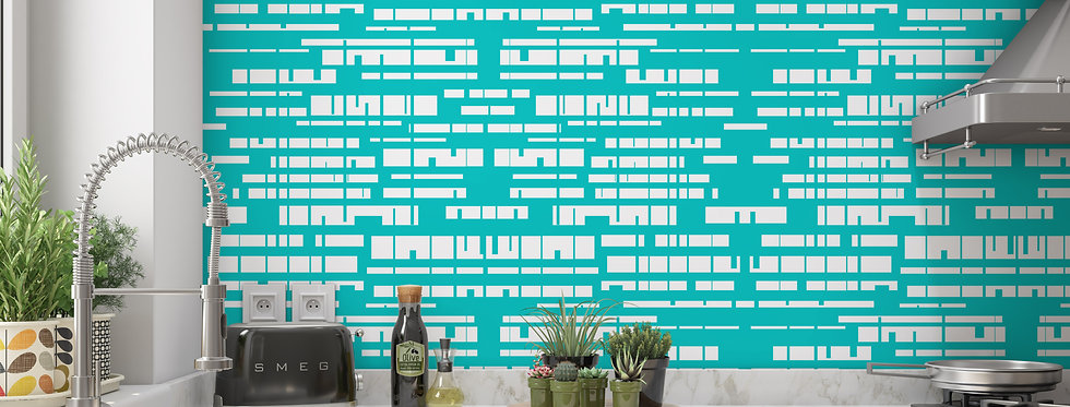 Turquoise Mid Century Modern Wallpaper Kitchen
