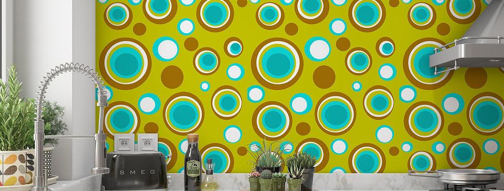 Green Polka Dot Wallpaper, Mid Century Modern Wallpaper , Green Kitchen Wallpaper