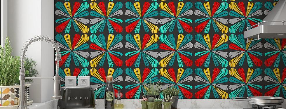 Mid Century Modern Wallpaper, Mod Wallpaper,Modern Wallpaper, Geometric Wallpaper, Retro Wallpaper, Black Wallpaper