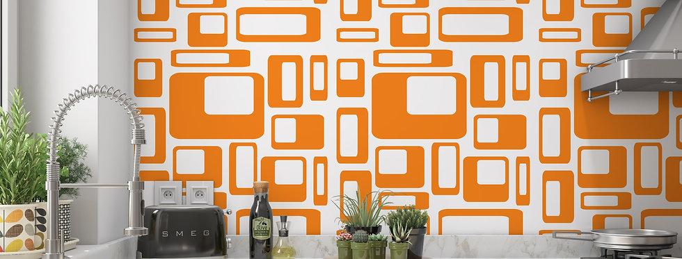 Mid Century Modern Wallpaper, Orange Wallpaper, Retro Wallpaper, Geometric Wallpaper