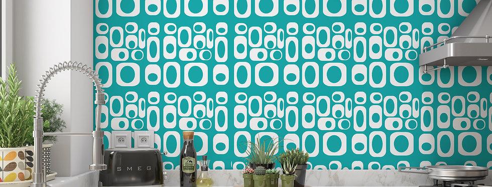 Blue Mid Century Modern Wallpaper Kichen