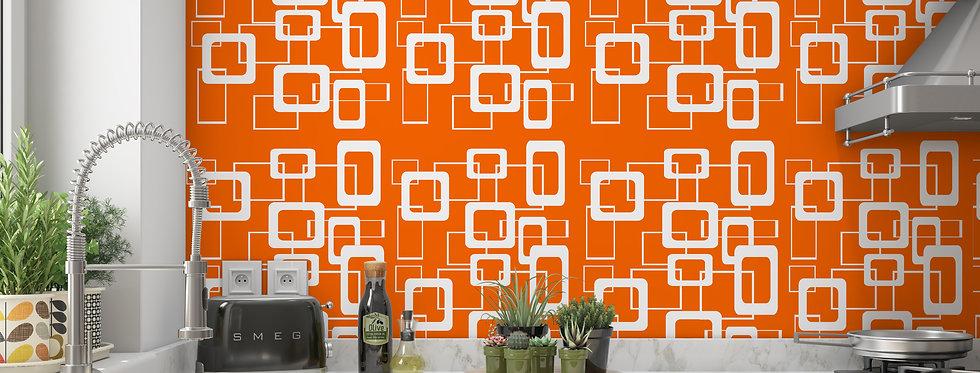Orange Geometric Wallpaper, Mid Century Modern Wallpaper, Modern Geometric Wallpaper, Orange Wallpaper