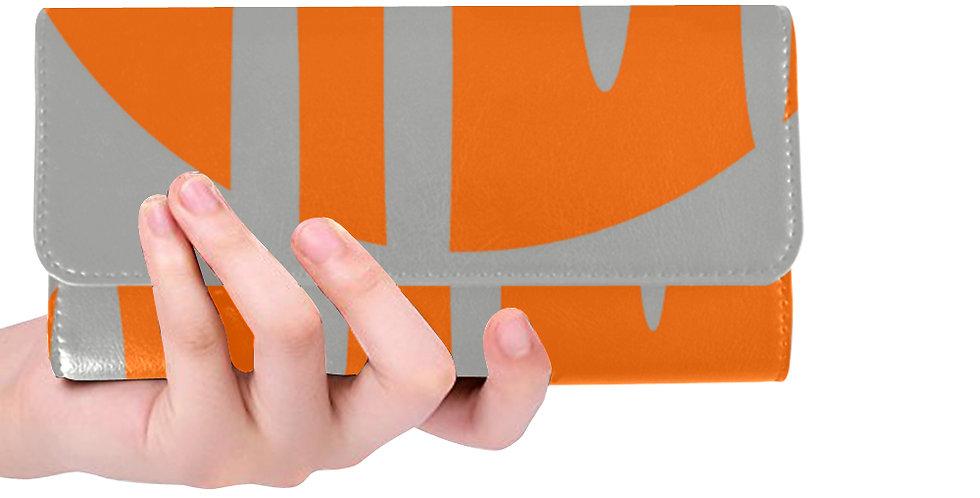 Gray with Orange print wallet