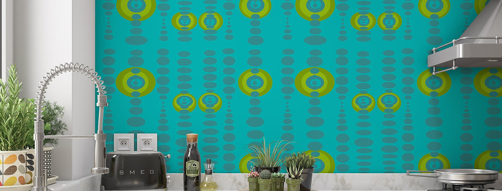 Mid Century Modern Wallpaper, Retro Wallpaper, Geometric Wallpaper, Turquoise Wallpaper