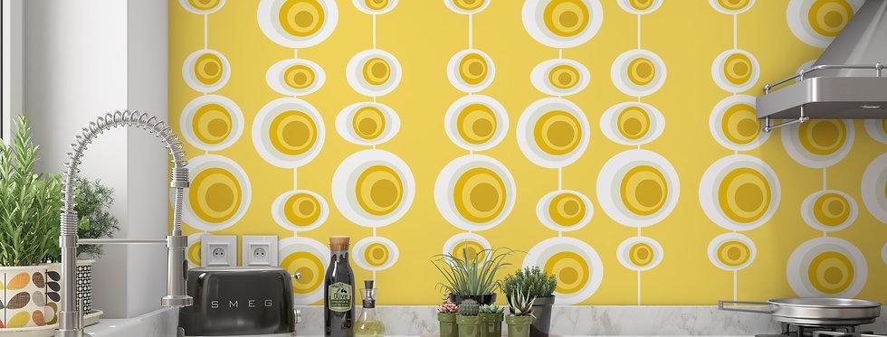 Yellow Mid Century Modern Wallpaper Kitchen