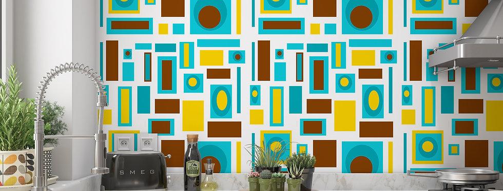 Mid Century Modern Wallpaper, Retro Wallpaper, Geometric Wallpaper,