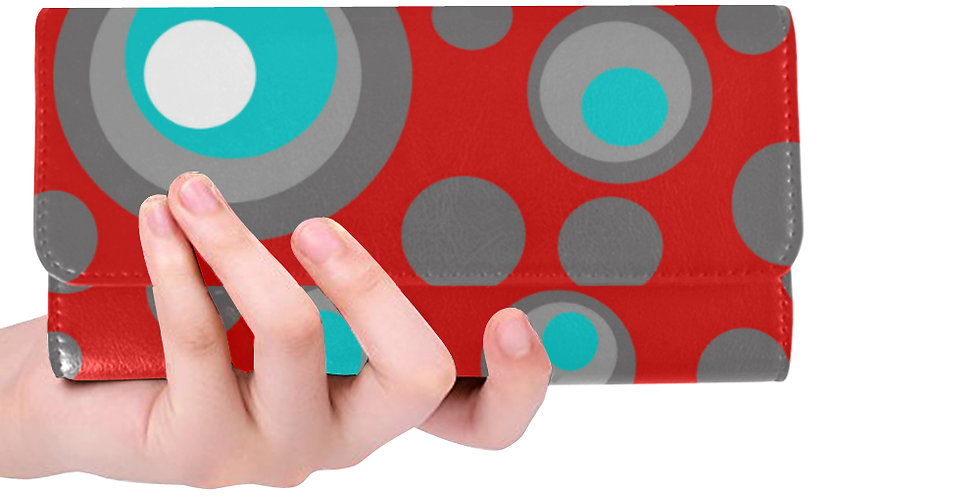 Red wallet gray/blue polka dots