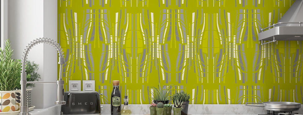 Mid Century Modern Wallpaper, Mod Wallpaper, Green Modern Wallpaper, Geometric Wallpaper, Retro Wallpaper