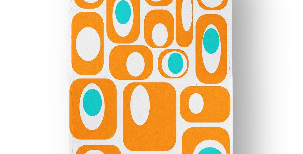 Orange & White Retro Tea Towel