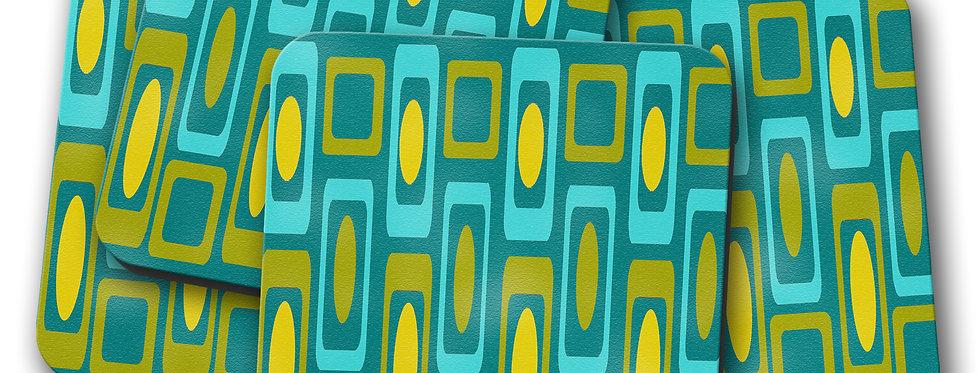 Turquoise Mid Century Modern Coasters