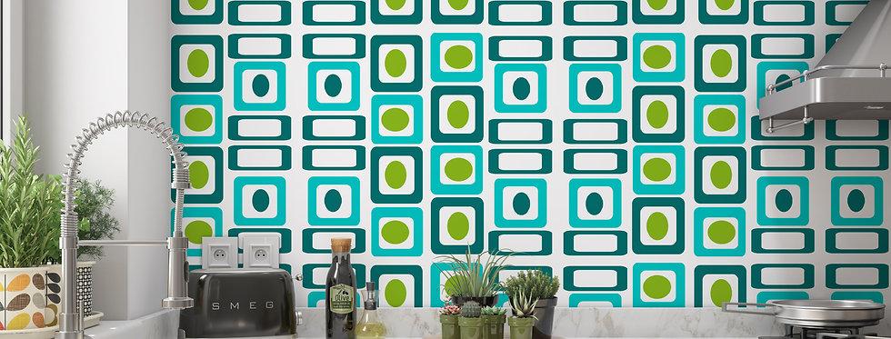 Geometric Mid Century Modern Wallpaper Kitchen