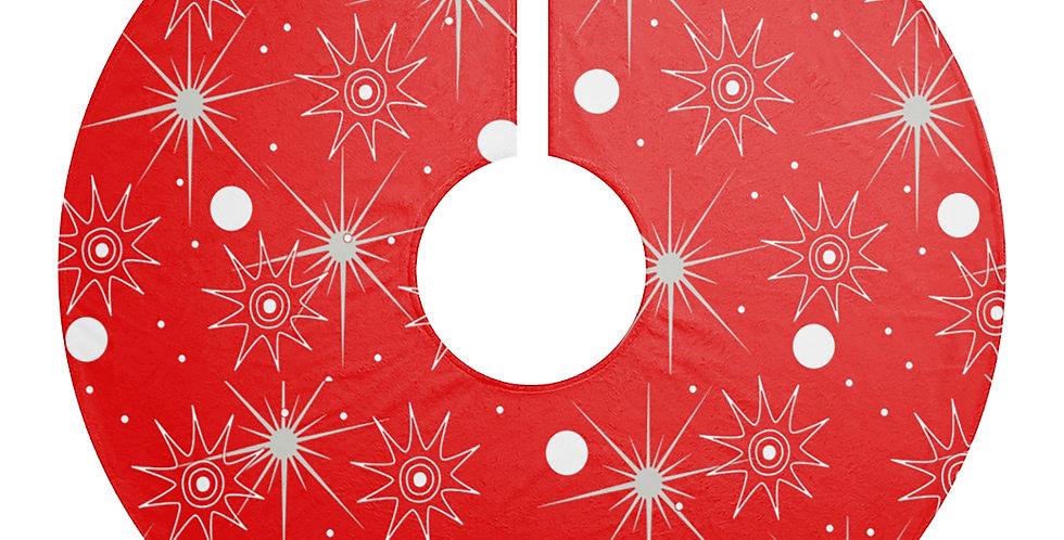 Red Starburt Mid Century Modern Christmas Tree Skirt