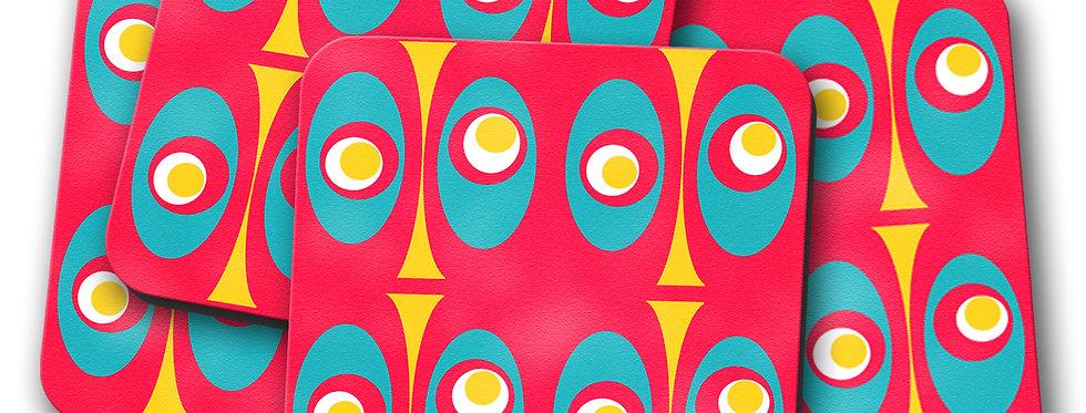 red geometric mid century modern coasters